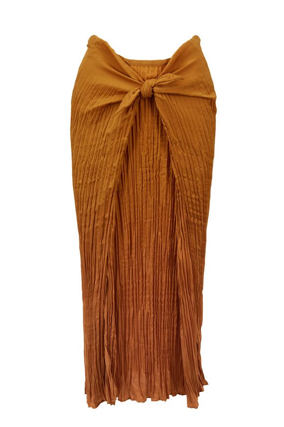 Vince Turmeric Pleated Tie Front Skirt