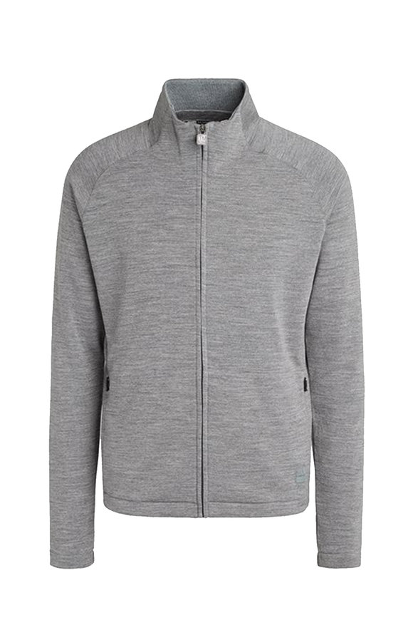 Z Zegna Gray Techmerino Front Zip Sweatshirt
