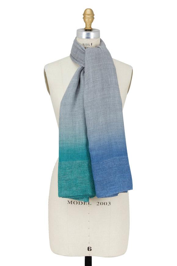 Faliero Sarti Gray & Blue Wool & Silk Ombré Scarf