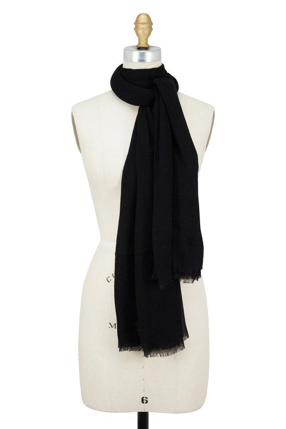Faliero Sarti Black Modal & Silk Plisse Scarf