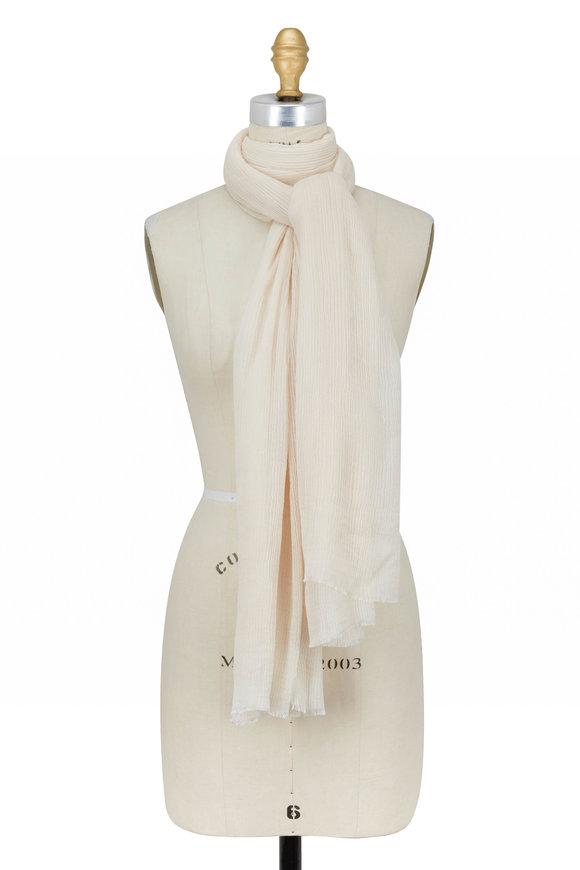 Faliero Sarti White Modal & Silk Plisse Scarf