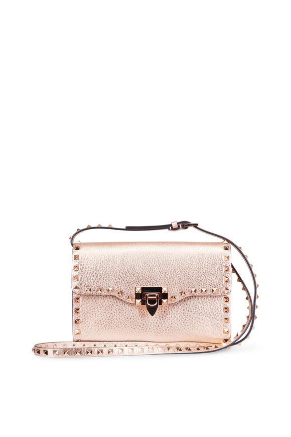 VALENTINO GARAVANI Rockstud Rose Gold Pebbled Leather Shoulder Bag