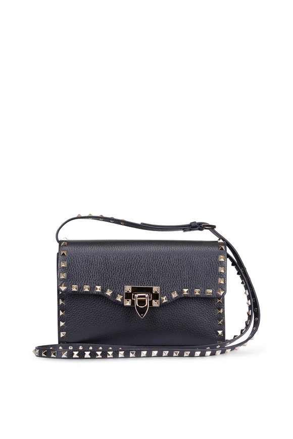 Valentino Rockstud Black Pebbled Leather Shoulder Bag