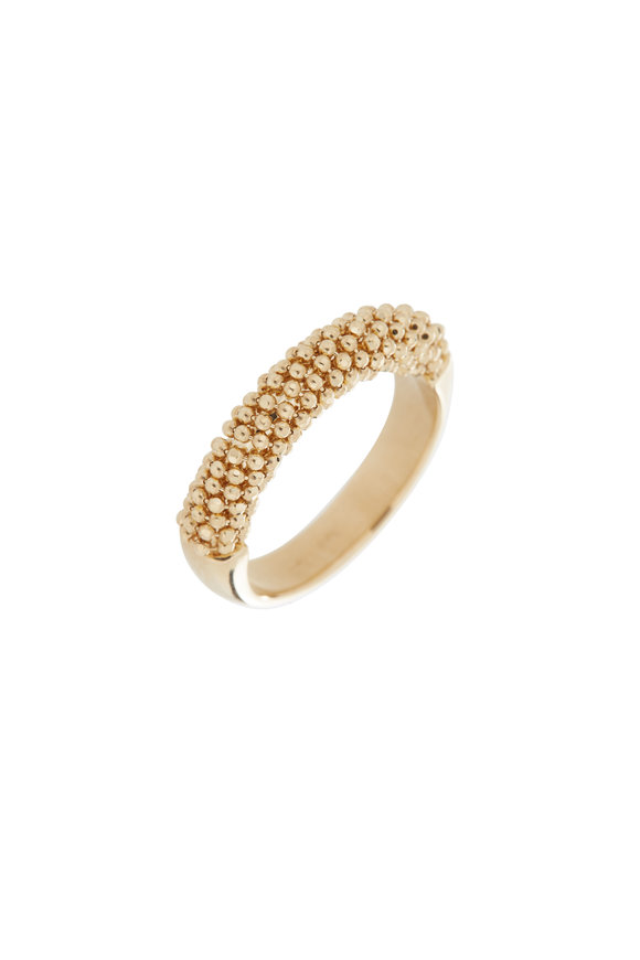 Alberto Milani 18K Yellow Gold Beaded Band