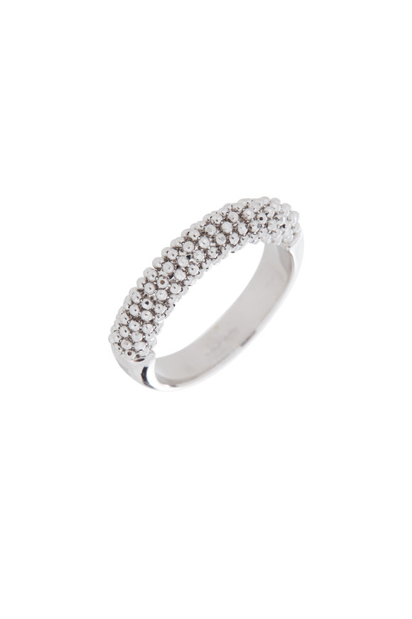 Alberto Milani 18K White Gold Beaded Band