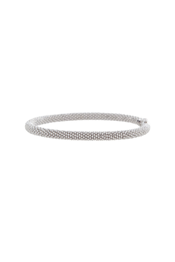 Alberto Milani 18K White Gold Beaded Thin Bangle