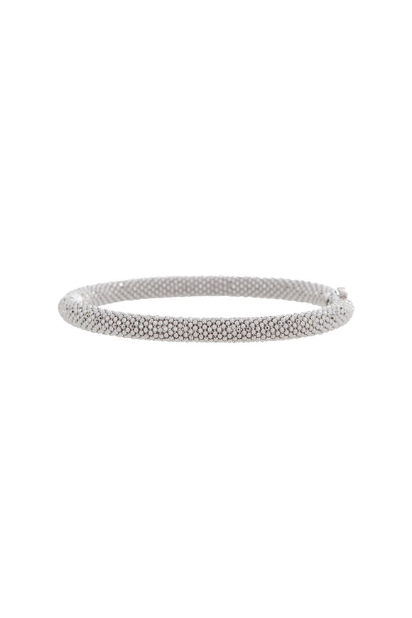 Alberto Milani 18K White Gold Beaded Medium Bangle