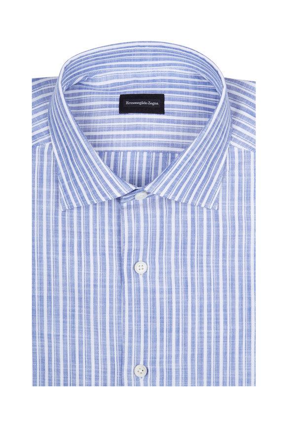 Ermenegildo Zegna Blue & White Striped Sport Shirt