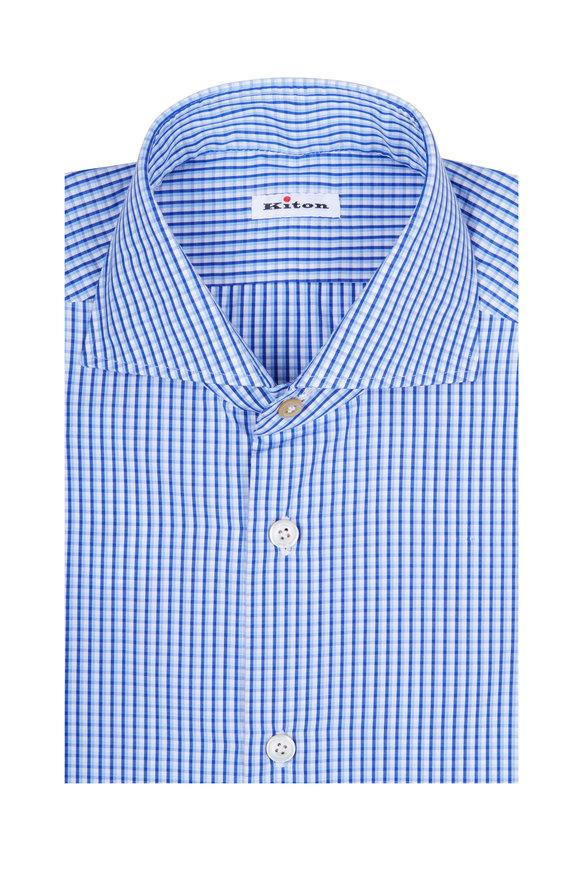 Kiton Blue Plaid Sport Shirt
