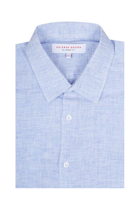 Orlebar Brown Morton Navy Linen Sport Shirt
