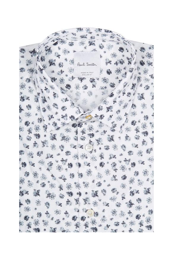 Paul Smith White & Grey Floral Pattern Dress Shirt