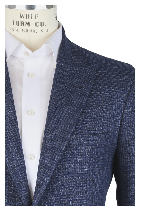 Brunello Cucinelli Ocean Wool, Linen & Silk Plaid Sportcoat