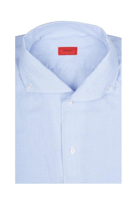 Isaia Blue Cotton & Linen Sport Shirt