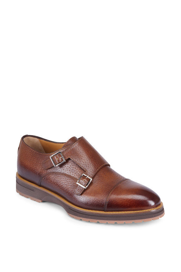 Di Bianco Marron Degrade Grained Leather Double-Monk Shoe