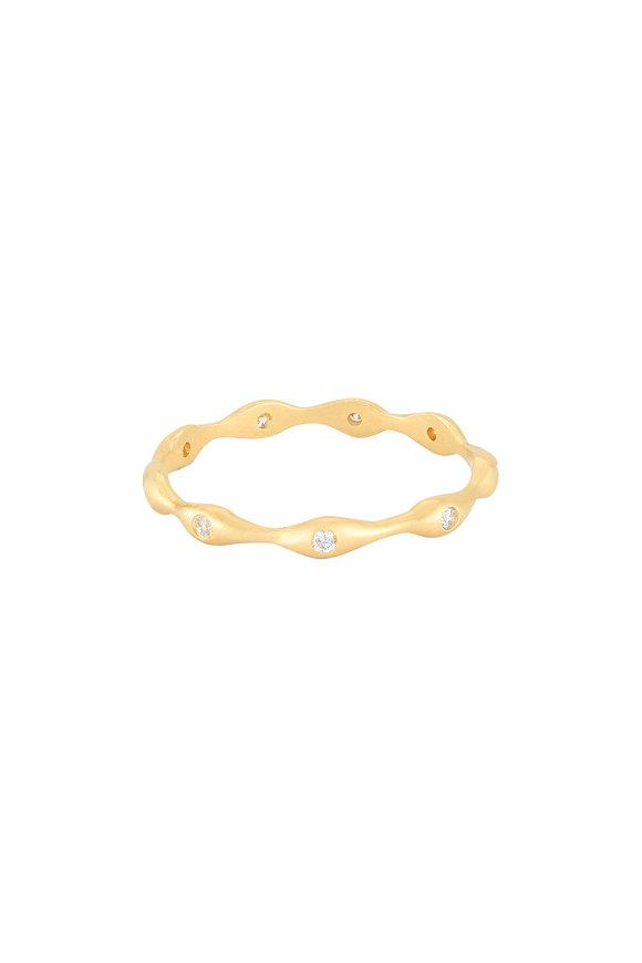 Sandy Leong 18K Yellow Gold Rain Bezel Stack Ring