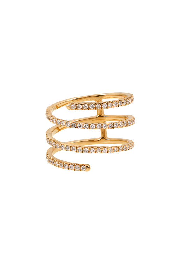 Sandy Leong 18K Yellow Gold Diamond Harmonic Coil Ring