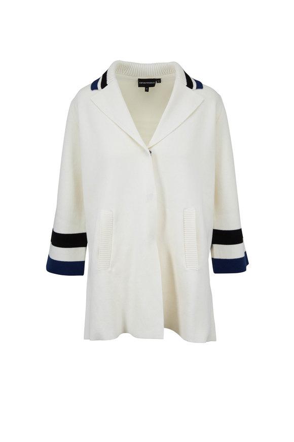 Emporio Armani White & Navy Cotton Snap Cardigan