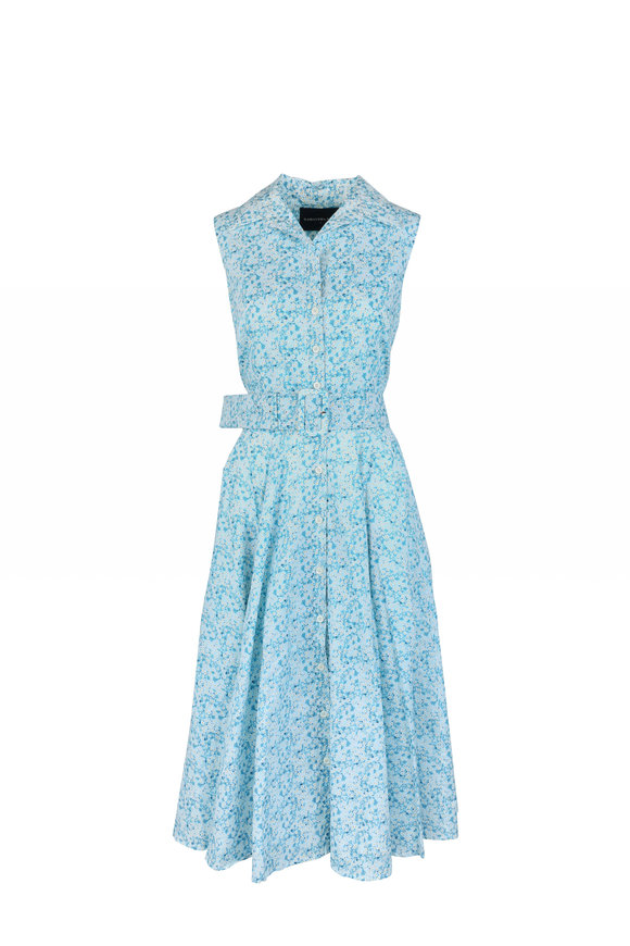 Samantha Sung Gigi Aqua Floral Sleeveless Shirt Dress