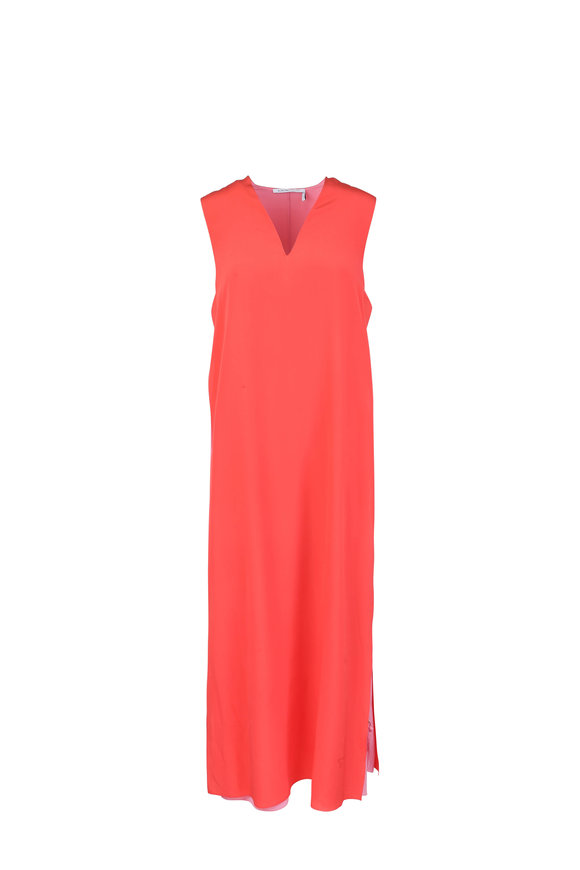 Agnona Red & Pink Overlay Silk Dress
