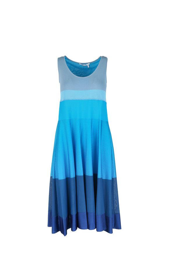 Agnona Blue Colorblock Knit Dress