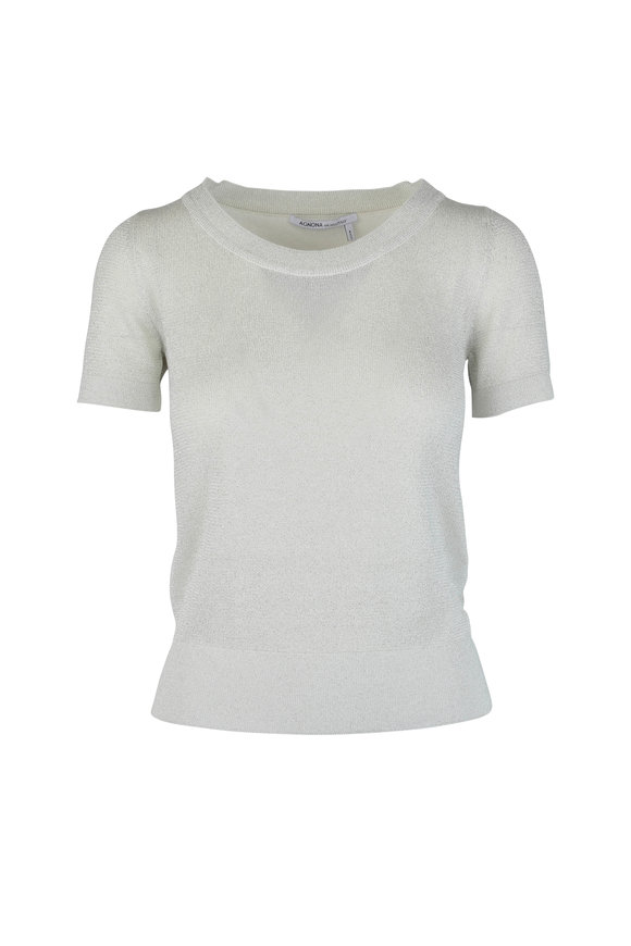 Agnona White Metallic Silk Blend Knit Top