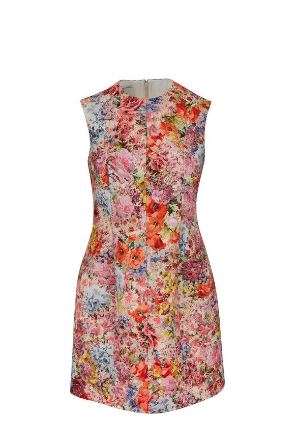 Valentino Floral Print Wool & Silk Crêpe Mini Dress