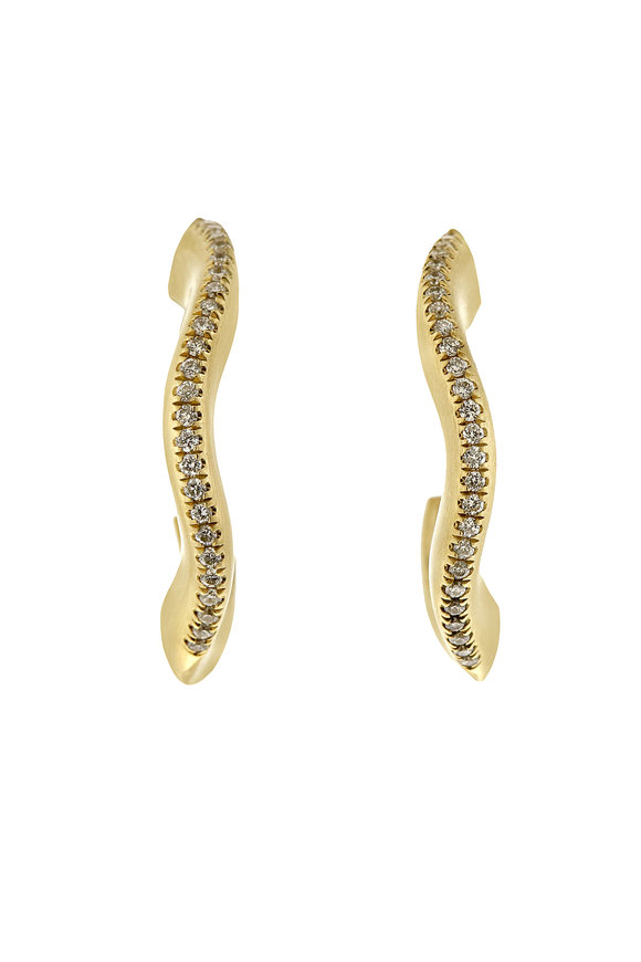 Sandy Leong 18K Yellow Gold Diamond Canyon Hoop Earrings