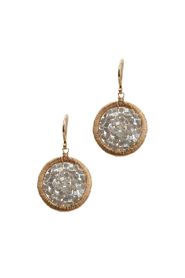 Yellow Gold Round Gray Diamond Drop Earrings