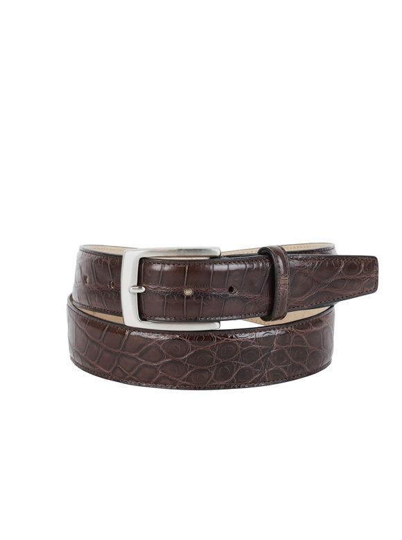 Olop Dark Brown Matte Crocodile Belt