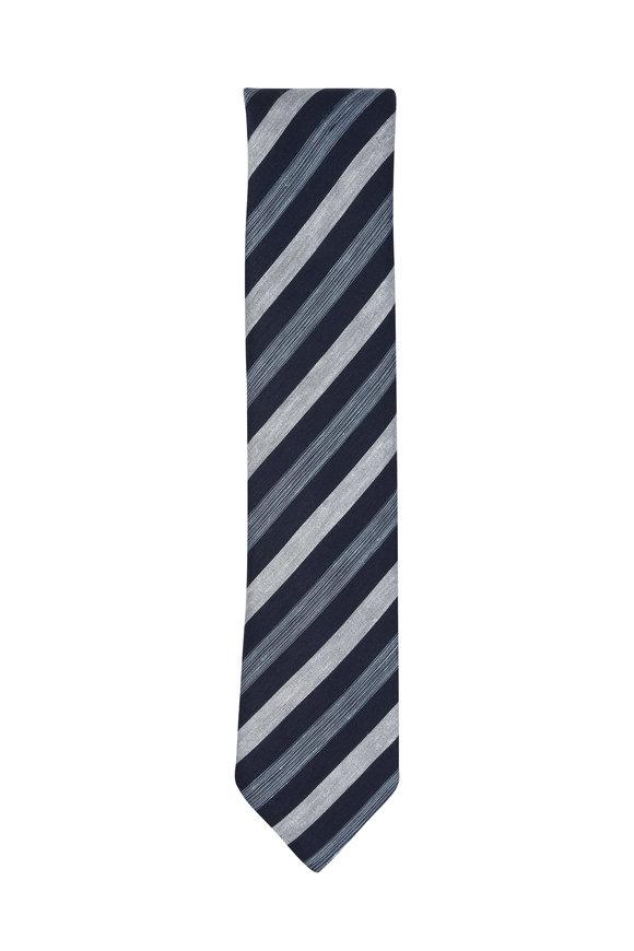 Brioni Navy Blue Striped Linen & Silk Necktie