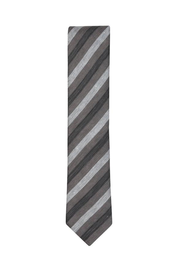 Brioni Grey Striped Linen & Silk Necktie