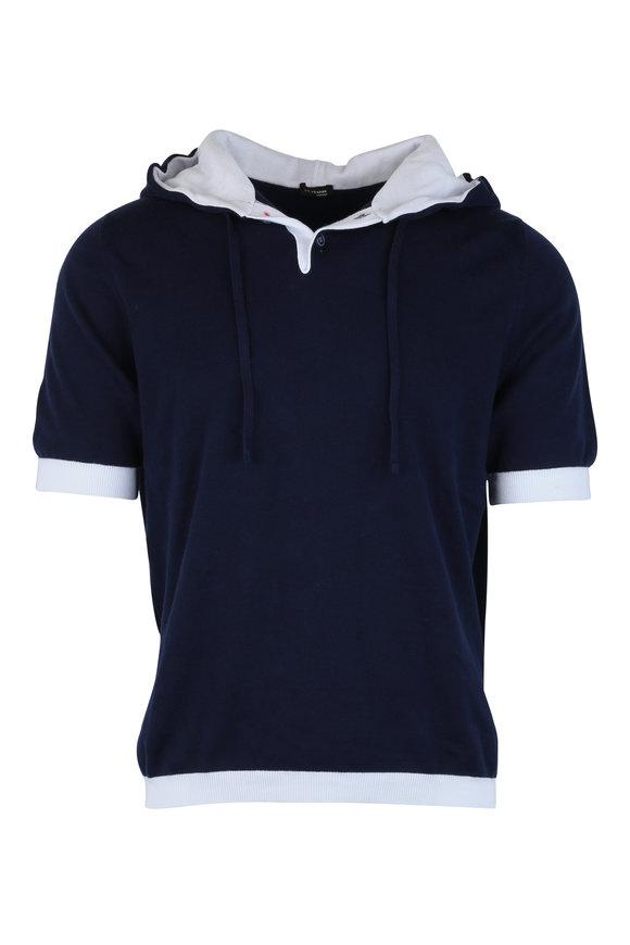 Kiton Navy Blue Hooded Polo