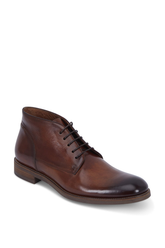 John Varvatos Varick Brownstone Burnished Leather Chukka Boot