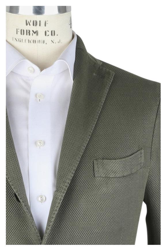 Boglioli Olive Green Textured Linen Blend Sportcoat