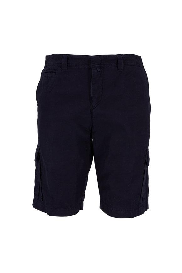 04651 Navy Blue Cotton & Linen Cargo Shorts