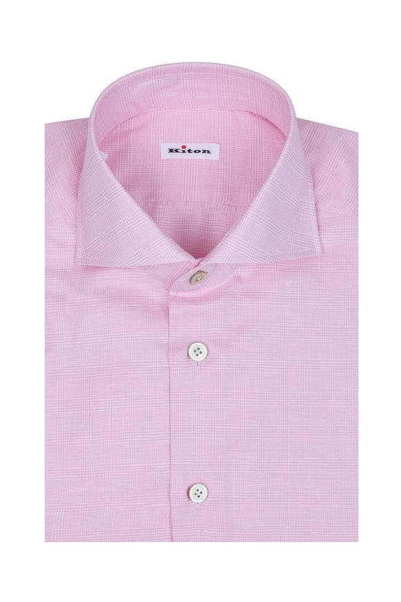 Kiton Pink Tonal Plaid Linen Blend Dress Shirt