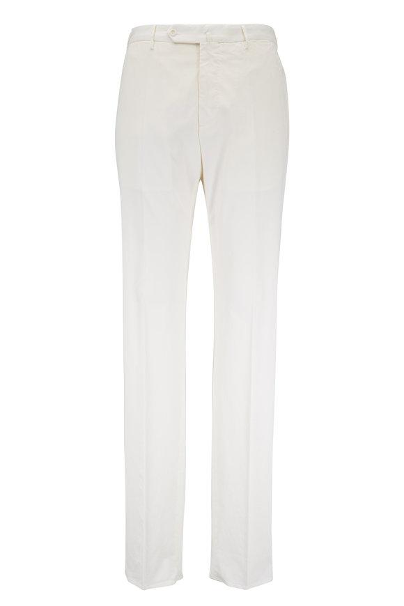 Incotex Ivory Stretch Cotton & Silk Pant