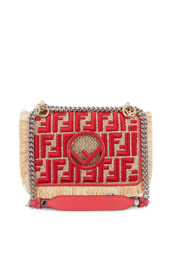 Fendi Kan I Red & Natural Raffia Small Shoulder Bag