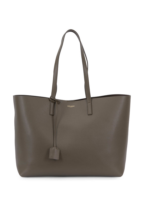 Saint Laurent Khaki Leather Large Shopper Tote