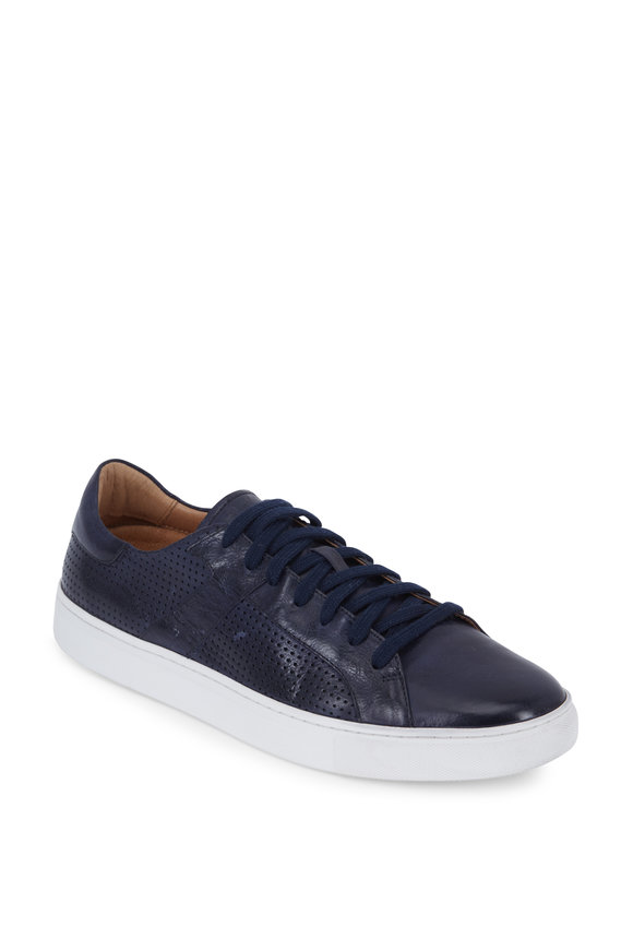 Trask Aaron Navy Blue Perforated Leather Sneaker
