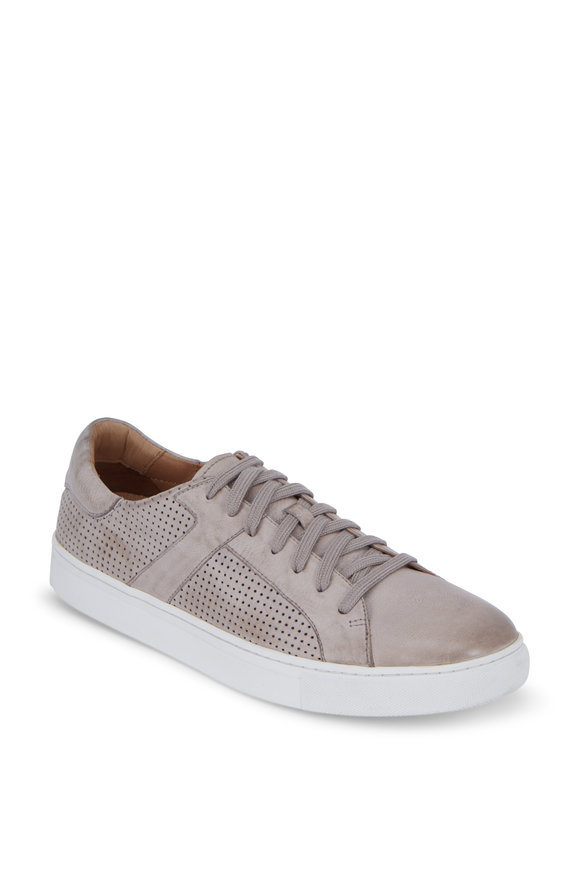 Trask  Aaron Gray Perforated Leather Sneaker