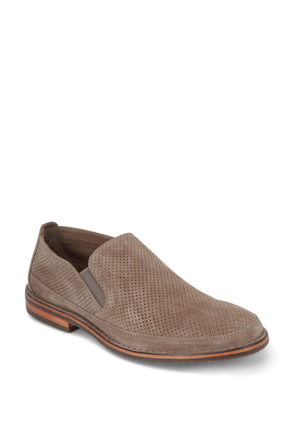Trask Bradley Taupe Perforated Suede Loafer