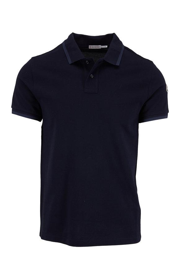 Moncler Maglia Navy Blue Cotton Piquè Polo