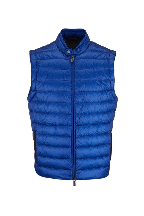 Ermenegildo Zegna Blue Quilted Nylon Puffer Vest
