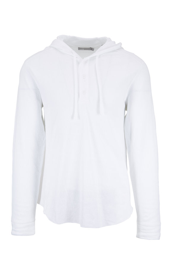 Vince Optic White Double-Knit Hooded Henley