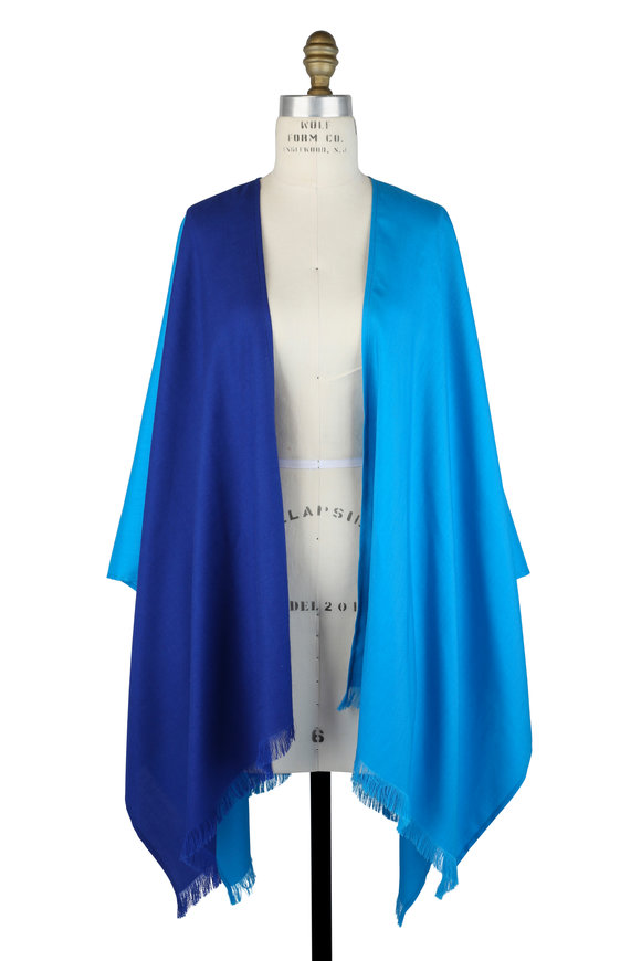 Agnona Turquoise & Purple Wool, Cashmere & Silk Cape