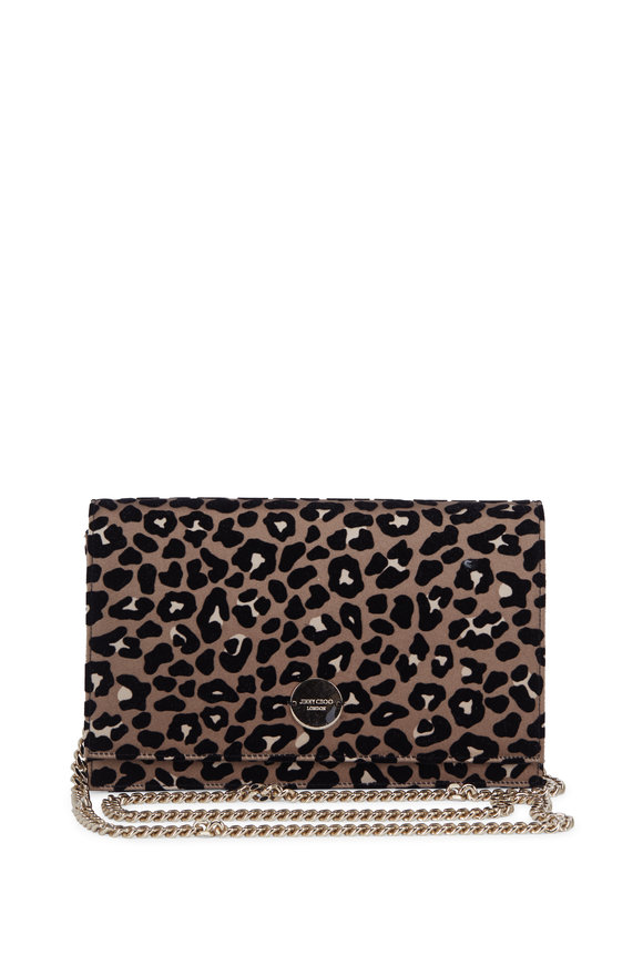 Jimmy Choo Florence Flocked Leopard & Satin Clutch With Chain