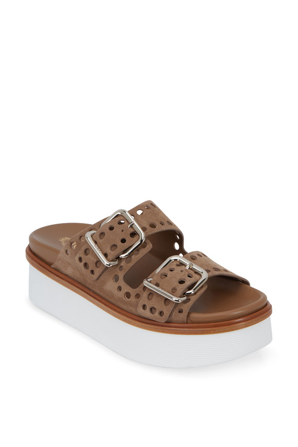 Tod's Chiaro Sand Perforated Suede Platform Slide, 50mm