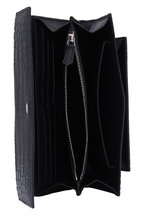 Alexander McQueen - Black Croc Stamped Leather Chain Wallet