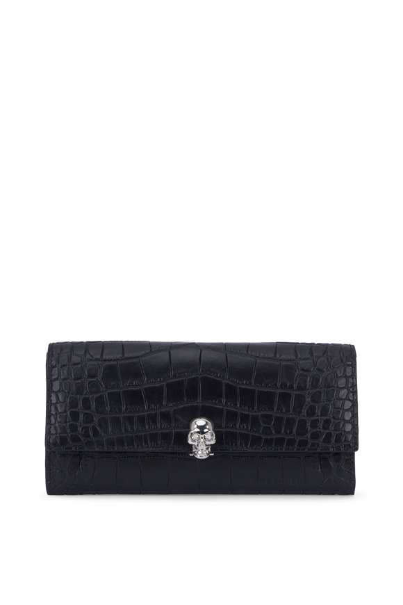 Alexander McQueen Black Croc Stamped Leather Chain Wallet